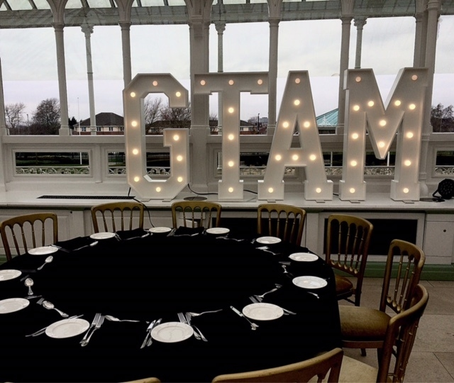 GTAM giant letters at the Isla Gladstone, Liverpool