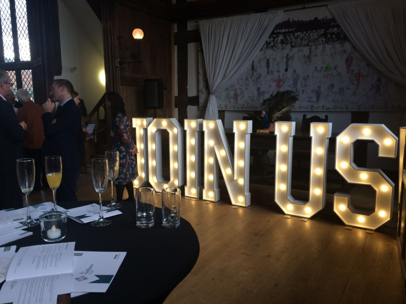 JOIN US! letter lights for Corporate Event