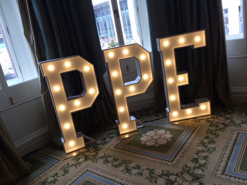 PPE light up letters at The Midland Hotel, Manchester