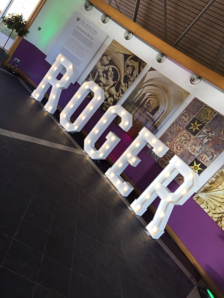 ROGER light up letters for Corporate Party