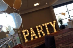 PARTY light up letters at Chesford Grange Hotel