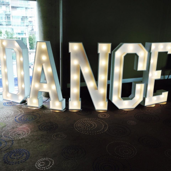 Our DANCE LED sign at a wedding reception