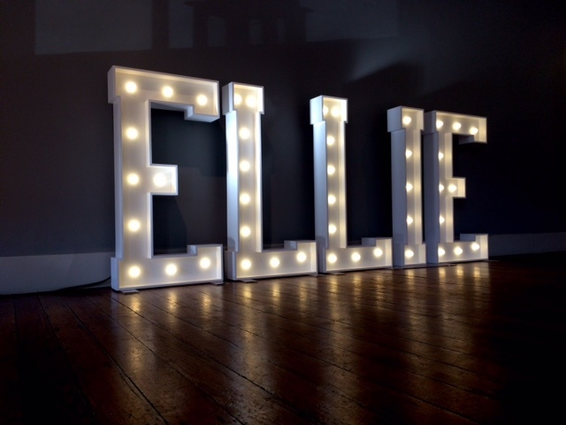 ELLIE light up letters at The Castlefield Rooms, Manchester