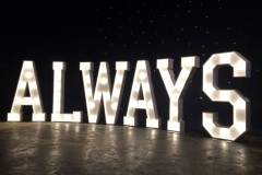 ALWAYS letter lights for a wedding at The Bowdon Rooms, Cheshire