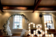 Floral Balloon Arch and Light Up Initials