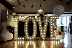 Rustic LOVE letters with balloon decor