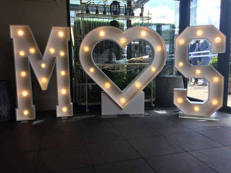 M heart S letter lights at St John Street Hotel, Manchester