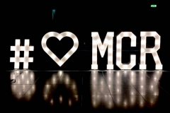 # love heart mcr illuminated signage at The Hilton, Manchester