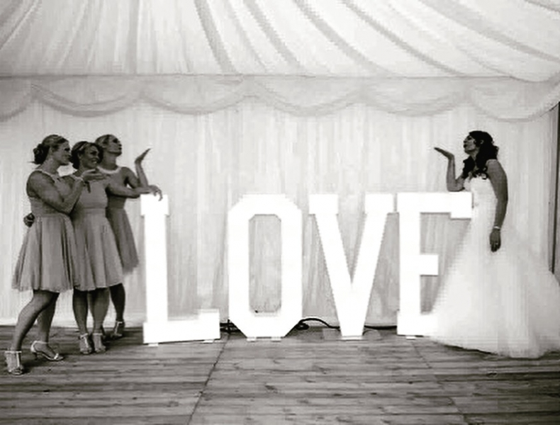 LOVE light up letters, courtesy of Mike Moss Photography