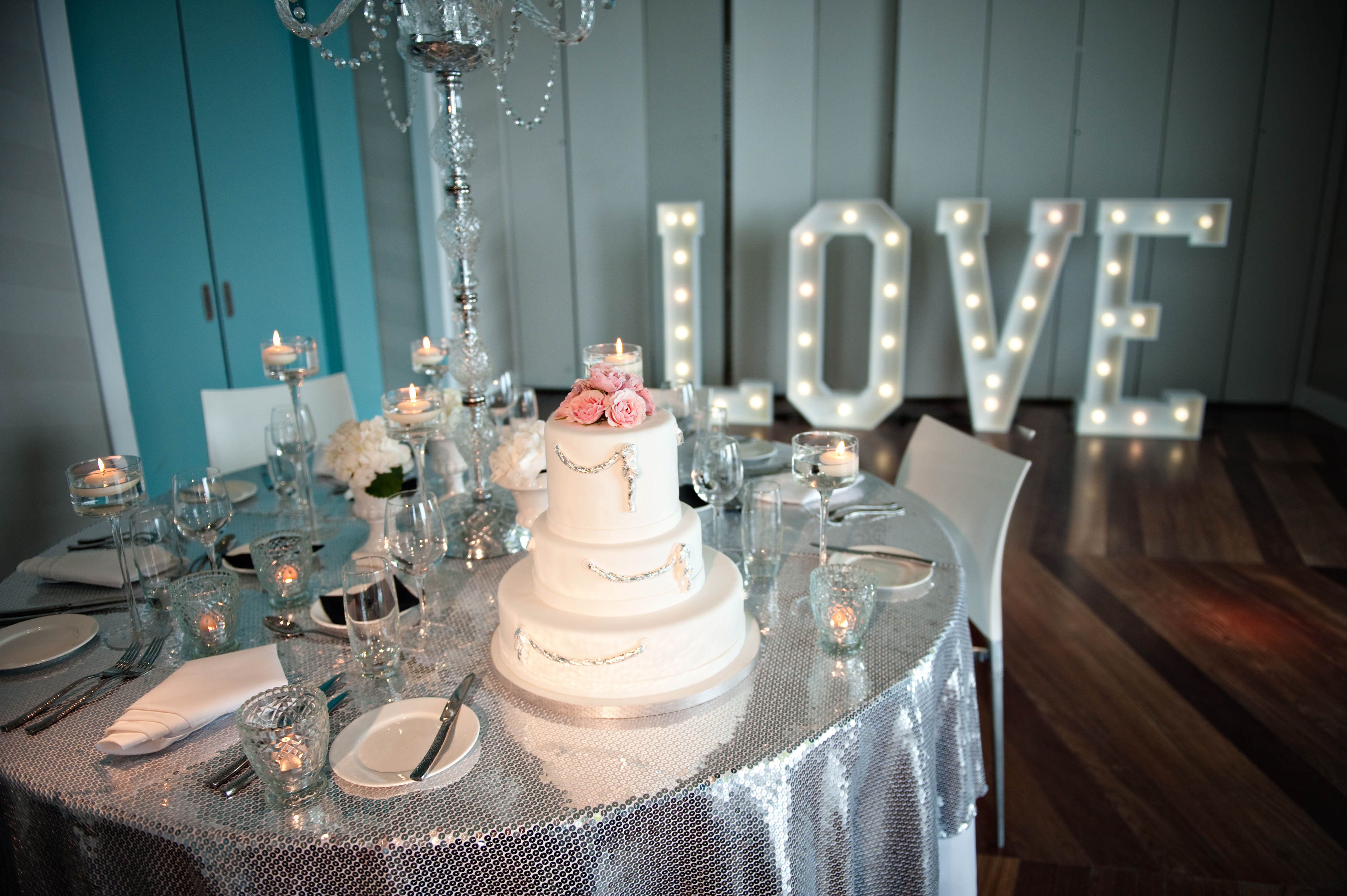 LOVE light up letters and cake!