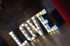 LOVE light up letters at Peckforton Castle, Cheshire