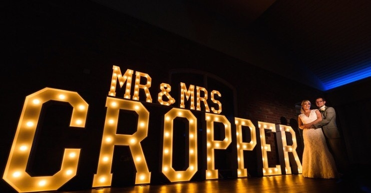 Mr & Mrs CROPPER lighted letters at Colshaw Hall (image courtesy of Neil Redfern Photography)