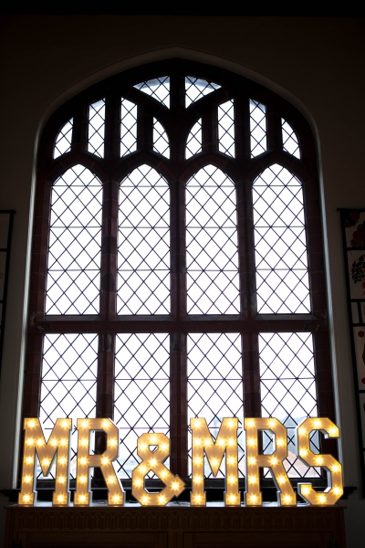 Table Top Mr & Mrs Letter Lights at Ordsall Hall