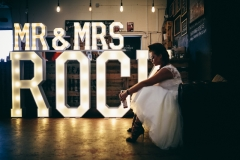 Mr & Mrs ROCK letter lights at Seven Bro7hers Brewery