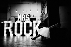 Mrs ROCK wedding letter lights at Seven Bro7hers Brewery