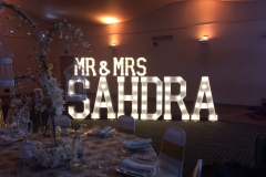 Mr & Mrs SAHDRA illuminated letters