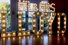 Mr & Mrs LLOYD Light Up Letters at West Tower, Ormskirk
