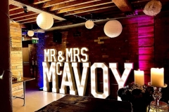 Mr & Mrs MCAVOY wedding letters at Seven Bro7hers Beerhouse, Manchester