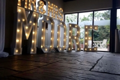 Mr & Mrs MOORE Letter Lights at The Great Hall at Mains, Lancs