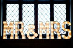 Our mini Mr & Mrs light up letters at Ordsall Hall