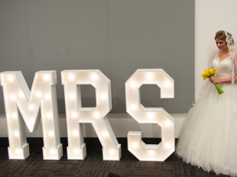 Our beautiful lighted letters provide the perfect photo opportunity for any bride