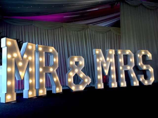 MR & MRS light up letters at Heaton House Farm, Cheshire