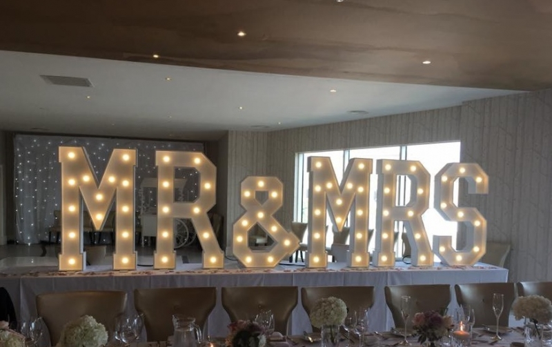 MR & MRS light up letters at The Shankly Hotel, Liverpool