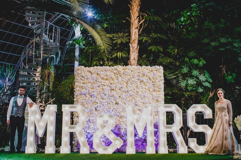 MR & MRS light up letters at The Palm House, Merseyside