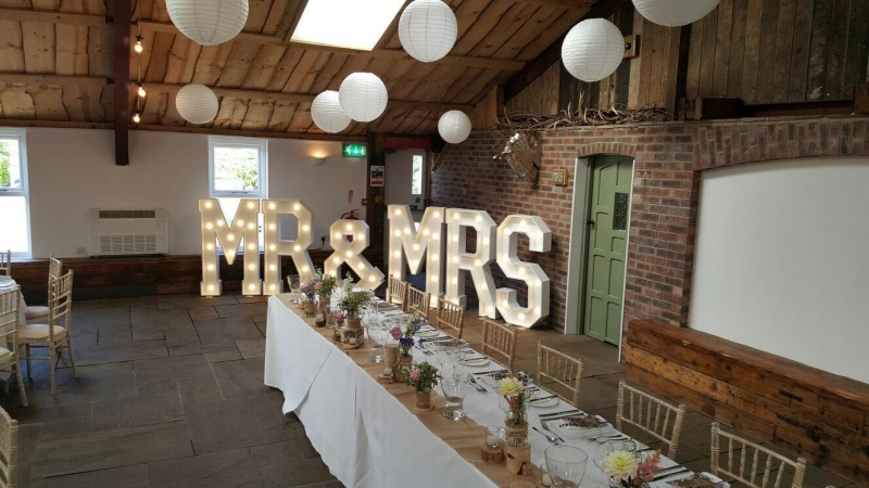 MR & MRS light up letters at Owen House Wedding Barn, Cheshire