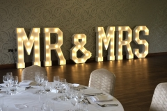 MR & MRS Wedding Letters at Colshaw Hall, Cheshire