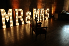 MR & MRS Light Up Letters at Peckforton Castle