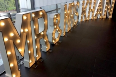 MR & MRS KHAN giant letter lights at Lancashire County Cricket Club