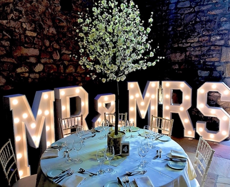 MR & MRS wedding letters at Tythe Barn