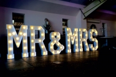 MR & MRS Wedding Lights Bashall Barn