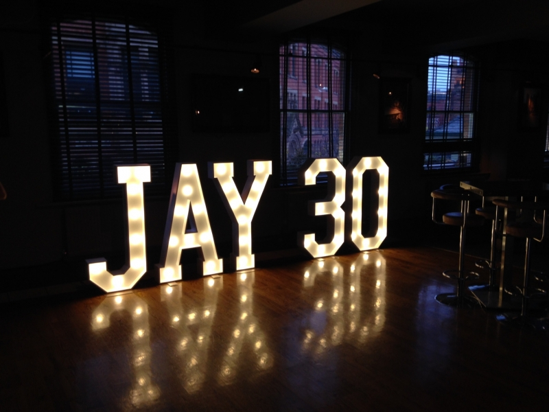 JAY 30 Light Up Signage at The Rain Bar, Manchester