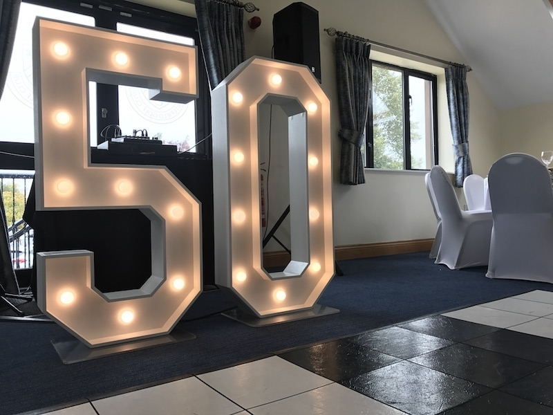 50 light up signage at Whitefield Golf Club