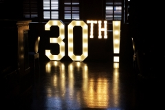 30th! giant light up signage at The Living Room, Manchester