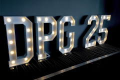 DPG 25 light up signage for a corporate birthday bash at Alberts, Worsley