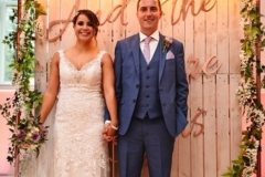 Seraphina wedding backdrop with bride and groom