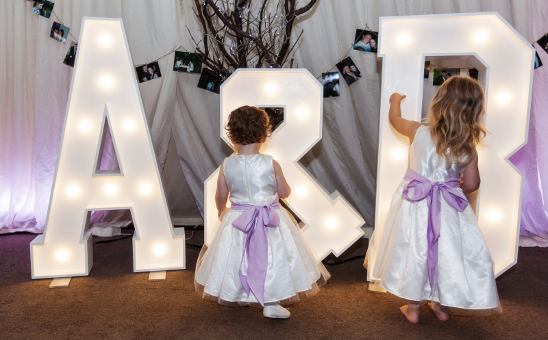 A & B wooden letters at Thornley Manor, Wirral