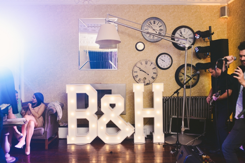 B & H marquee letters at Didsbury House Hotel
