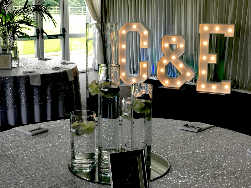 C & E letter lights at Heaton House Farm, Macclesfield