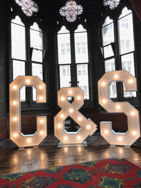 C & S light up initials at Manchester Town Hall
