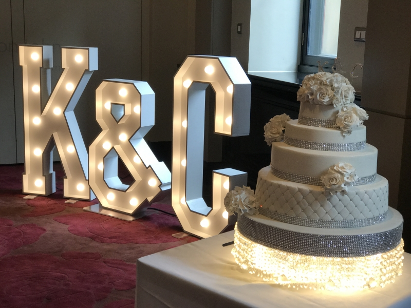K & C LED giant initials at The Radisson Blu Hotel, Manchester