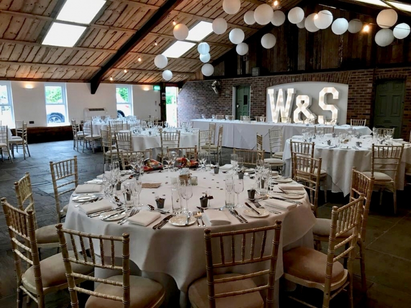 W & S light up signage at Owen House Wedding Barn, Mobberley