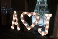 A heart J letter lights at Shaw Hill Golf Club Hotel Sept 15