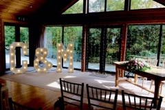 C & M light up letters at Styal Lodge, Cheshire