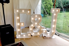 E & J marquee letter lights in a marquee