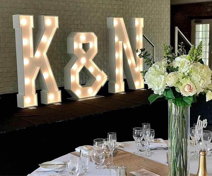 K & N letter lights at Colshaw Hall, Knutsford